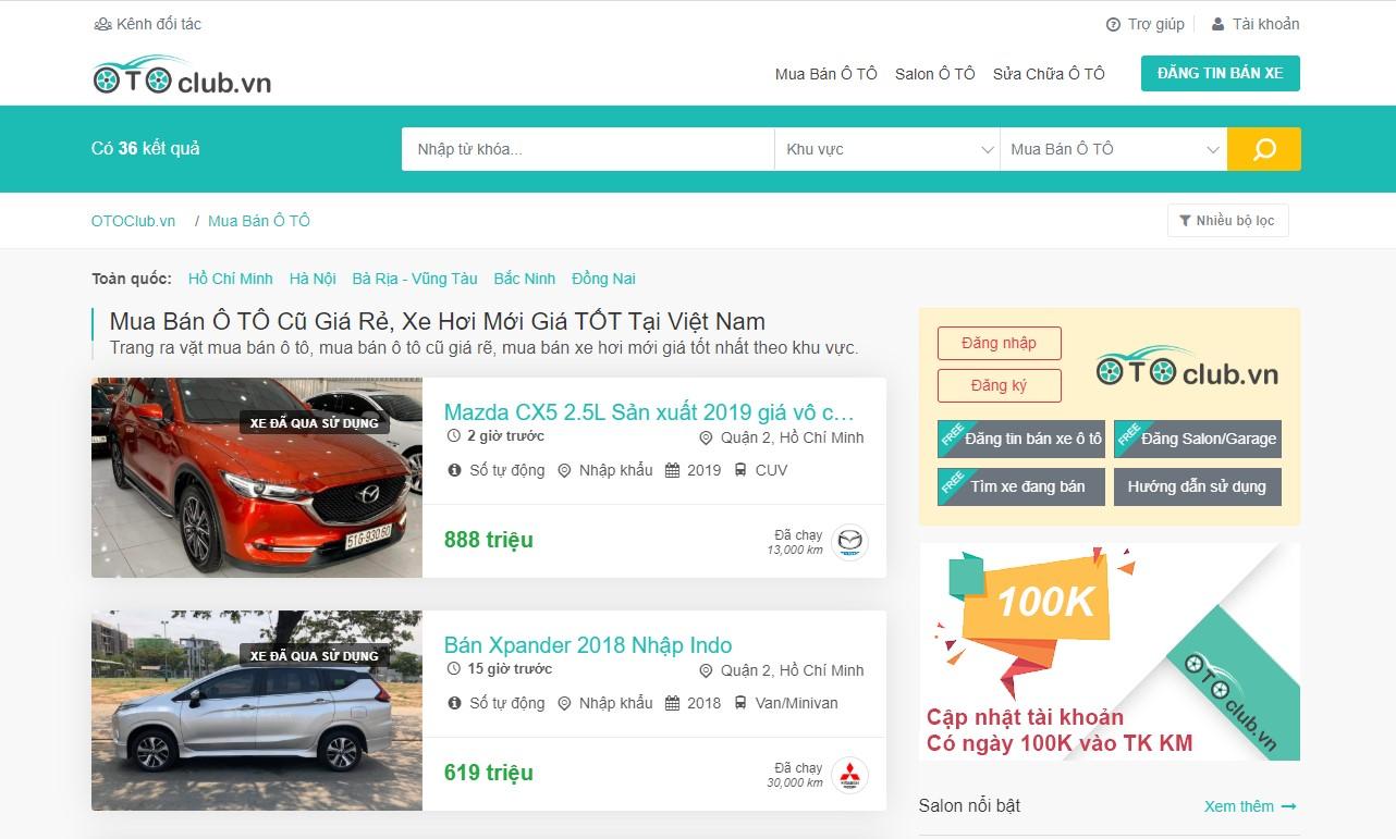 OTOClub.vn web đăng tin rao bán xe ô tô uy tính và chất lượng